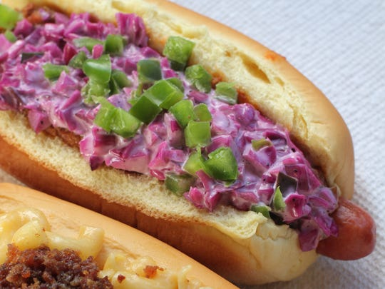 The Mac Attack, bottom, and Redneck Caviar hot dogs are photographed at Dobbs Dawg House  in Dobbs Ferry.