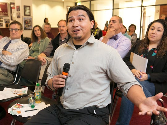 Native American Community Academy prevention program coordinator Makhpiya Black Elk join in the town-hall style discussion on Wednesday during New Mexico's Prescription Drug Abuse Summit hosted by the New Mexico Osteopathic Medical Association (NMOMA) at the Barbara Hubbard Room at New Mexico State University.