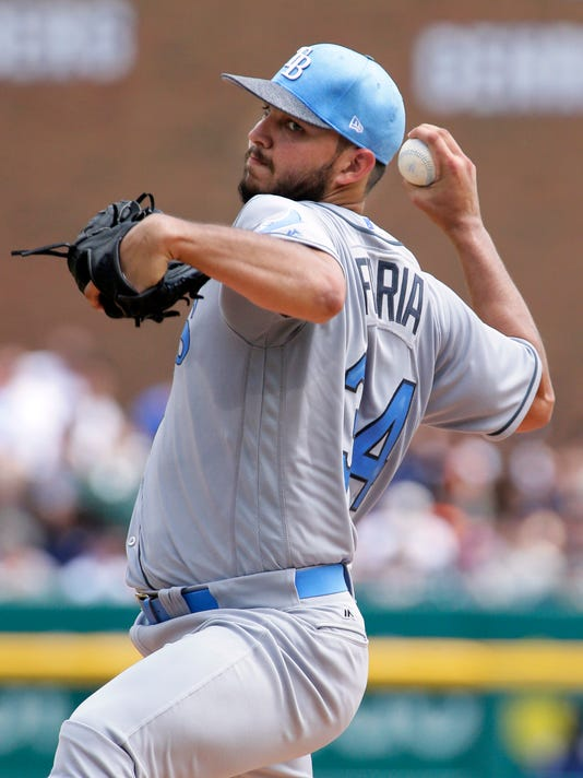 Tampa Bay Rays' Jacob Faria pitches against the Detroit Tigers during the second inning of a baseball game Sunday, June 18, 2017, in Detroit. (AP Photo/Duane Burleson)