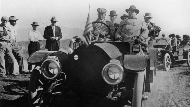 President Theodore Roosevelt (front seat right) in Arizona March 18, 1911 for the dedication of Roosvelt Dam. Roosevelt had left office two years earlier in 1909.