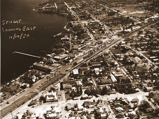 An aerial of downtown Stuart taken in 1950.