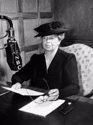 Eleanor Roosevelt broadcasts on NBC radio in 1948.