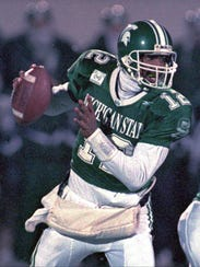 Michigan State quarterback Tony Banks in action against