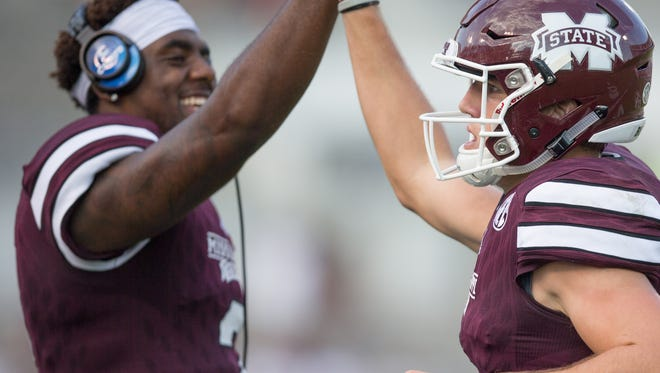 Mississippi State quarterbacks Elijah Staley (left) and Nick Fitzgerald played well in Saturday's scrimmage.