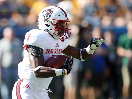 North Carolina State Wolfpack running back Nyheim Hines.
