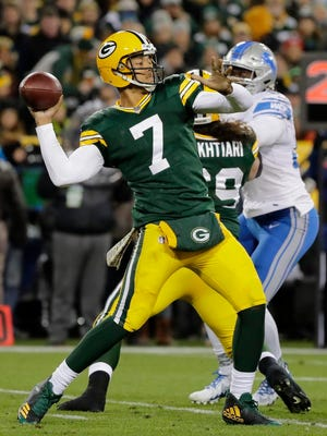 Green Bay Packers quarterback Brett Hundley (7) throws in the fourth quarter against the Detroit Lions on Nov. 6, 2017, at Lambeau Field.