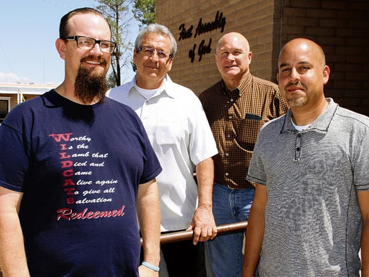 Bill Armendariz - Headlight Photo   Members of the Deming Ministries Alliance include, from left, Pastor Ernie Vineyard, First United Methodist Church; Cesar Chavez, CitiLife Church, Cliff Jackson, Youth Pastor at First Baptist Church; and Pastor David Iglesias, First Assembly of God Church. Not pictured are Reggie Price, Antioch Missionary Baptist Church; Father Ron Machado, Holy Family Catholic Church; Don Heacox, St. Luke's Episcopal Church; ; Senior Pastor Marshall Boyer, Calvary Chapel; and Ruben and Rosemary Chavira, Deming Street Ministry Crusade.
