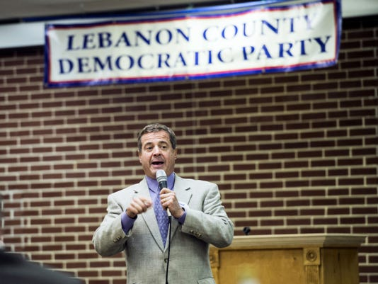 David Wecht, candidate for the Pennsylvania Supreme Court, speaks during the Lebanon County Democrats' Jefferson & Jackson dinner Saturday at the Campbelltown Fire Co.