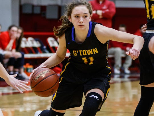 Germantown sophomore Natalie McNeal (11) breaks for the paint during the WIAA Division 1 regional championship game at Waukesha South on Saturday, Feb. 24.