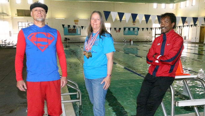 Eliseo Duran, left, Cathy Soto and David Jackson will compete in a number of events during the 35th Senior Games put on by the city Parks and Recreation Department. The games start Saturday and culminate May 6 with track and field events.
