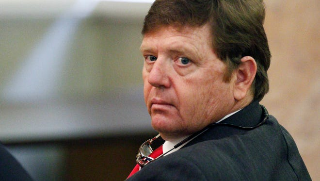 Democratic Rep. Bo Eaton of Taylorsville, looks around the committee room during a meeting of a special Mississippi House committee assigned to  hear testimony over his disputed election victory, on Thursday, Jan. 14, 2016, at the Capitol in Jackson, Miss. Eaton is trying to hold onto his seat, but Republican challenger Mark Tullos of Raleigh wants to be declared the winner.