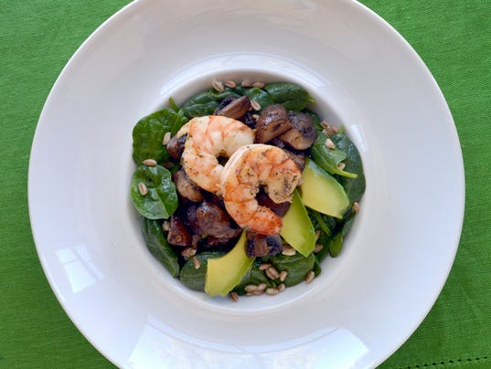 Warm mushroom and shrimp salad