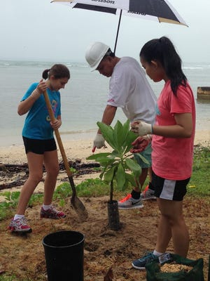 Guam Girl Scout Kylie Alsup, left, prepares to fertilize a tree at the War in the Pacific National Historic Park at Ga'an Point Unit in Agat on Sept. 26. For the 15th consecutive year, the National Park Service has invited the members of Guam Girl Scouts to assist in maintaining the National Parks in Guam, and to cultivate appreciation and enjoyment of the parks. Also pictured are Guam Girl Scout parent Timmy Gonzaga, center, and Girl Scout Gabrielle Gonzaga.