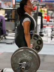 Suzanne Davis is training on August 30, 2014 at Die Hard Gym and Fitness, in Peoria, for the Mr Olympia Pro Invitational Powerlifting in Las Vegas.
