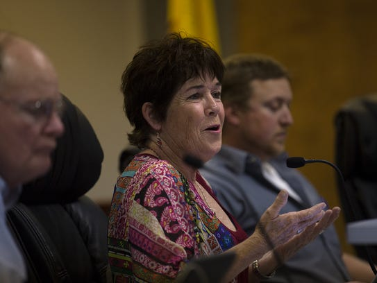 Commissioner Katee McClure speaks during Tuesday's