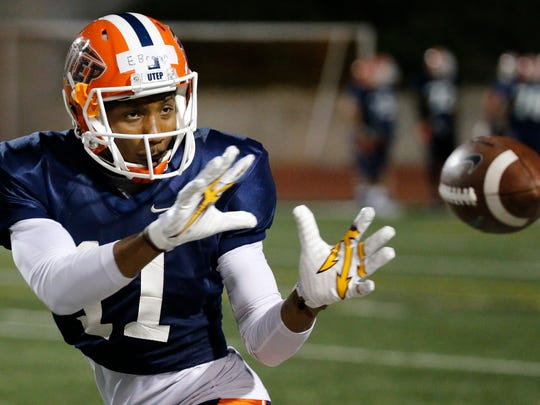UTEP wide receiver Erik Brown pulls in the football during drills at the SAC Friday night as UTEP took their show on the road to the east side of El Paso Friday night and held a scrimmage in front of a small crowd.