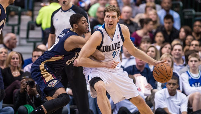New Orleans Pelicans power forward Anthony Davis (23) and Dallas Mavericks power forward Dirk Nowitzki (41) will be in action Thursday night in Bossier City