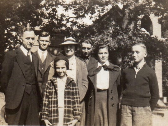 Left to right: J. Leonard, Gene, Lois, Nell, Fred, Martha and Wayne Shultz in October 1937 at St. John's Reformed Church.