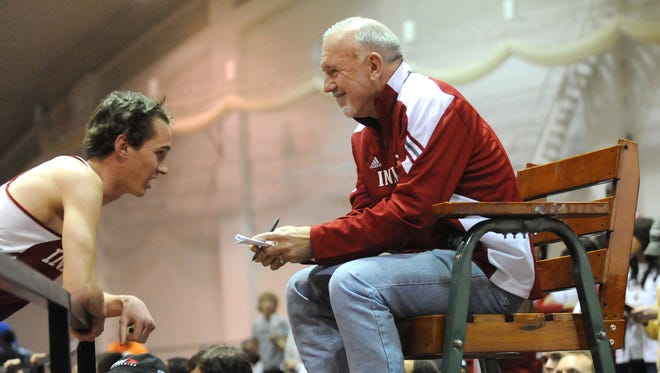 Indiana coach Ron Helmer with former IU runner Andy Bayer, in 2012. Bayer has returned to Helmer, whose regimen treats Bayer more like a miler than a distance runner.