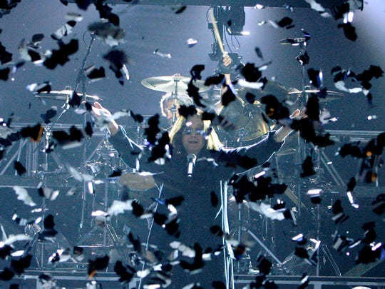 """Batman"" Ozzy Osbourne performs in a cloud of fake bats during the VH1 Rock Honors concert in 2007."