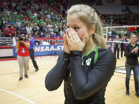 The Star Press Yorktown?s Olivia Reed is announced as the Mental Attitude Award recipient. Yorktown's Olivia Reed is overtaken with emotion after being announced as the Mental Attitude Award recipient for Yorktown. The recipient of the award is given a $1,000 scholarship by Indiana Farm Bureau Insurance.
