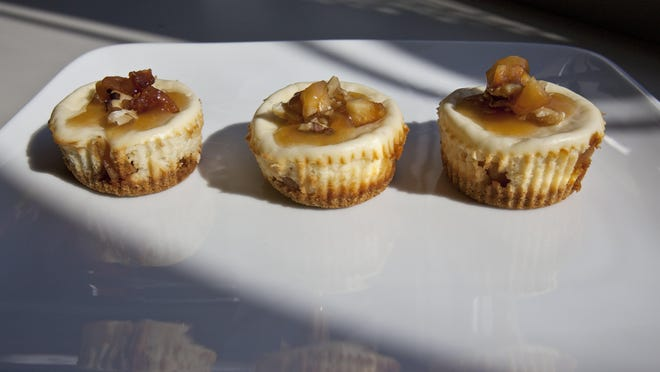 Mini caramel-apple cheesecakes also contain cider.