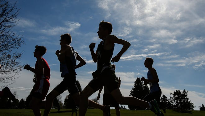 Runners during the WIAA Division 1 Manitowoc Lincoln Sectional at Meadow Links Golf Course Saturday, Oct. 21, 2017, in Manitowoc, Wis. Josh Clark/USA TODAY NETWORK-Wisconsin