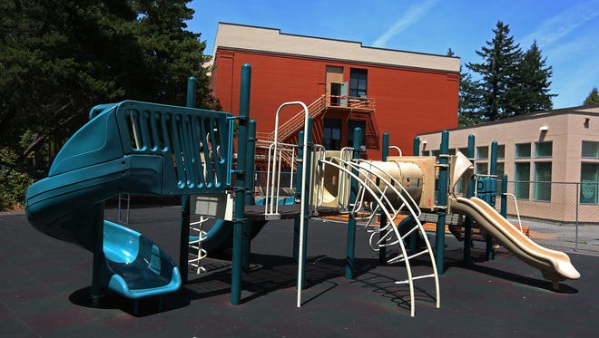 Leftover bond money went for playground rehabilitation, including a rubber fall surrounding the playground, at Richmond Elementary School in 2015.