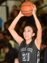 Piedra Vista's Monique Russell looks to pass during a game against Aztec on Thursday at Lillywhite Gym in Aztec.