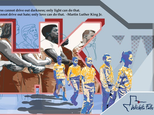Martin Luther King mural concept as designed by the Midwestern State University chapter of Kappa Pi.
