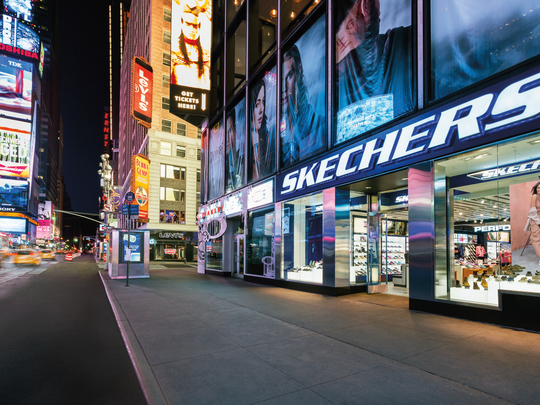 Exterior shot of Skechers store in New York's Times Square. The shoe company plans to open a store in Grand Chute.