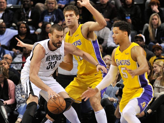 Memphis Grizzlies center Marc Gasol (33) controls the ball against Los Angeles Lakers center Brook Lopez (11) and guard Josh Hart (5) in the first half of an NBA basketball game Monday, Jan. 15, 2018, in Memphis, Tenn. (AP Photo/Brandon Dill)