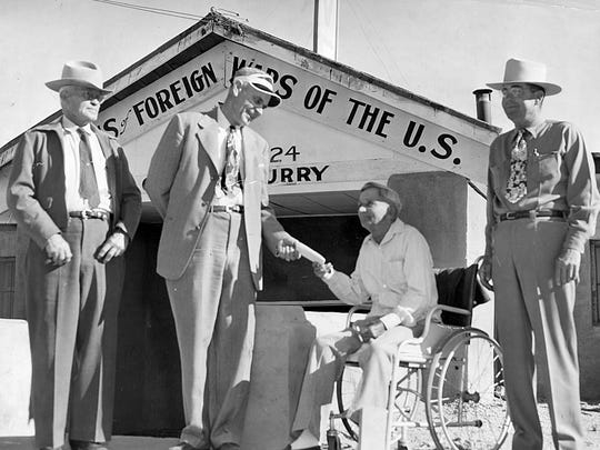 04/14/1950 FIRST TO VOTE - Omaray Isaac, was the first to vote in last Friday's election on changing the name of Hot Springs, N.M. to Truth or Consequences. With Isaac are election judges C.W. Hanchett (left) and Mr. Carter.