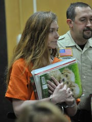 Jessica Strom appears for her sentencing on Aug. 26, 2014, at the Marathon County Circuit Court in Wausau.