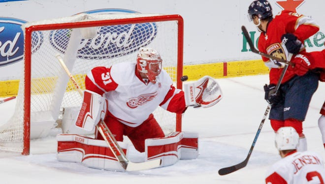 Red Wings goaltender Jared Coreau stopped 31 shots in the team's 4-3 shootout win over the Panthers on Dec. 23.