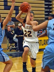 Hartland's Michelle Moraitis drives with the ball in