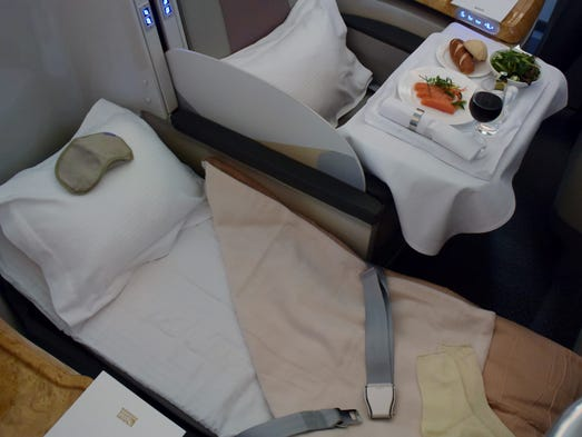 Emirates shows off one of its business-class seats