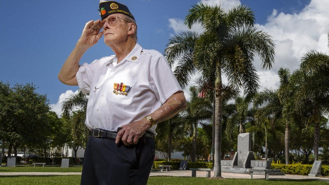 WWII veteran Tom Kaiser at Veterans Memorial Park on May 20, 2019 in Boynton Beach, Florida.