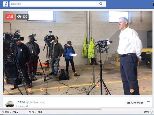 When JCP&L President Jim Fakult spoke Thursday on Facebook Live, a steady stream of angry emoji faces floated across the bottom of the screen, as residents still without power symbolized their frustration.