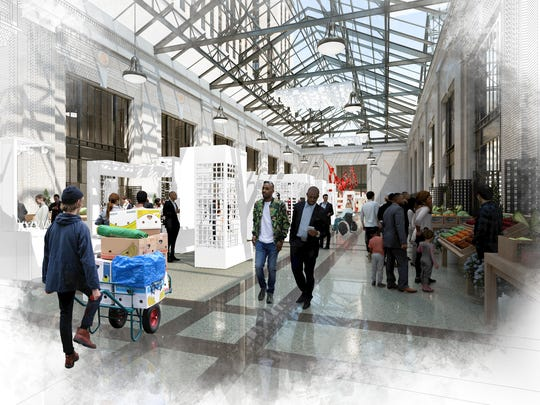 Another rendering shows a market for fresh produce in the atrium space.