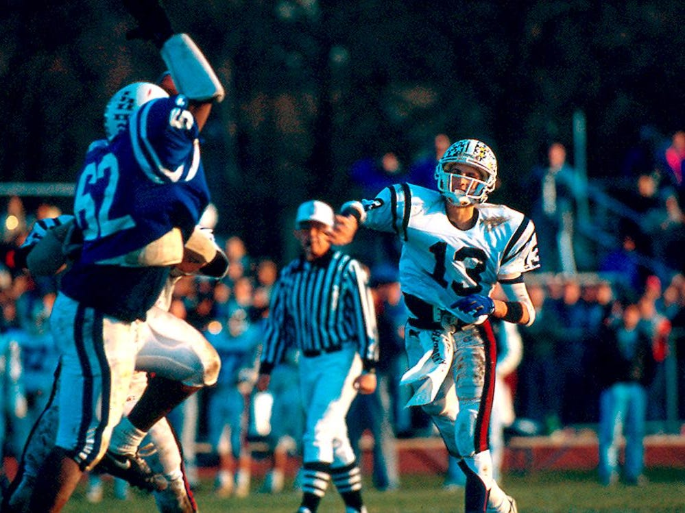 Quarterback Mike Groh throws vs. Montclair during the 1990 Group 4 Section 2 State Championship at Woodman Field. Randolph beat heavily favored Montclair 22-21.