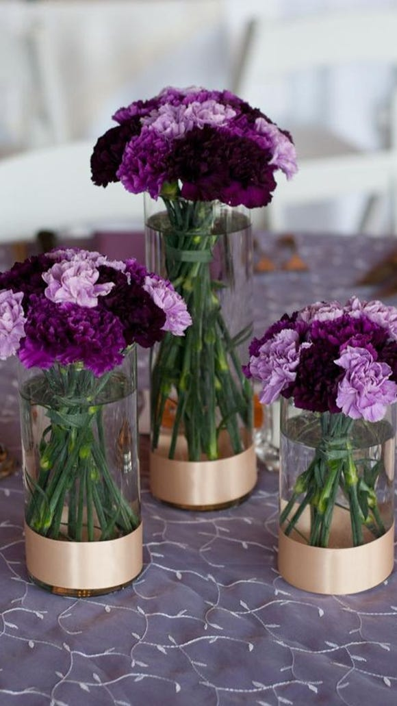 Shades of Purple Carnations as Centerpieces