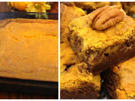 Cut pumpkin cheesecake brownies into squares, pile