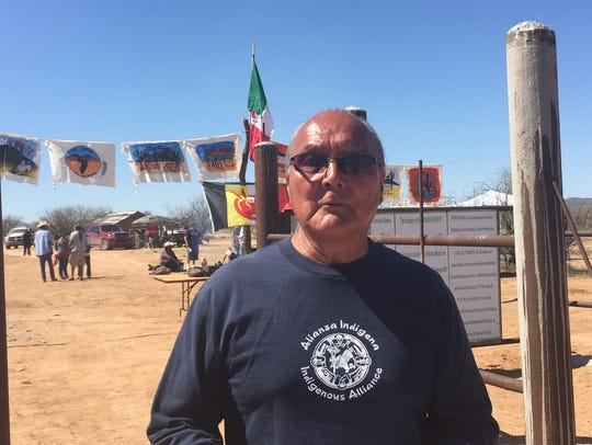 David Garcia attends a protest on the border wall with