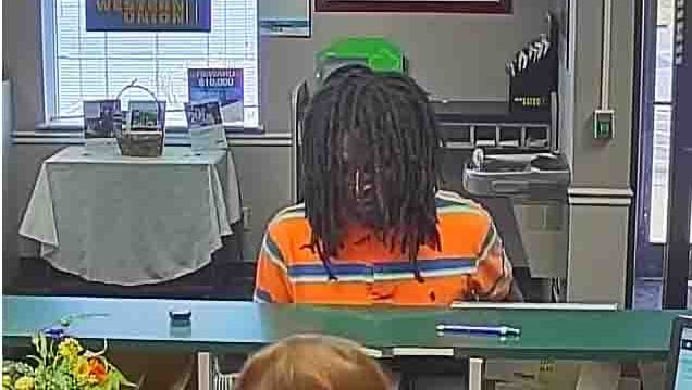 Surveillance footage from the robbery of US Bank on Fort Campbell Boulevard on Monday.