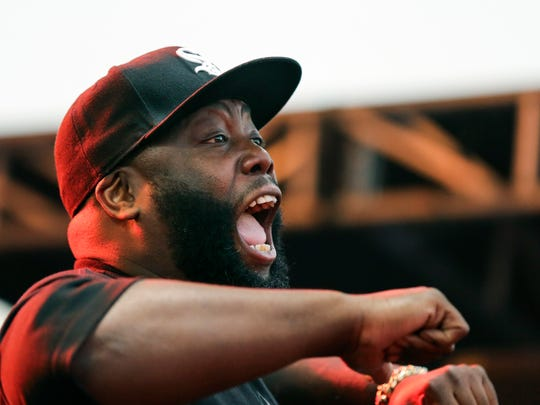 Run the Jewels' Killer Mike performs on the Boom Stage
