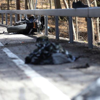 A motorcyclist hit the guardrail on Lake Road in Webster,