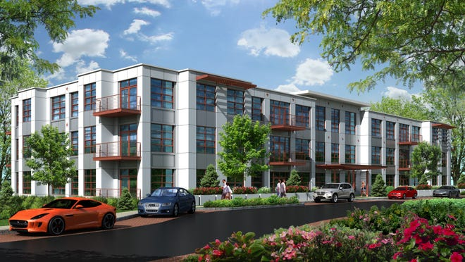 Architectural rendering of The Lofts at Saw Mill, a 66-unit rental complex going up in Hastings-on-Hudson.