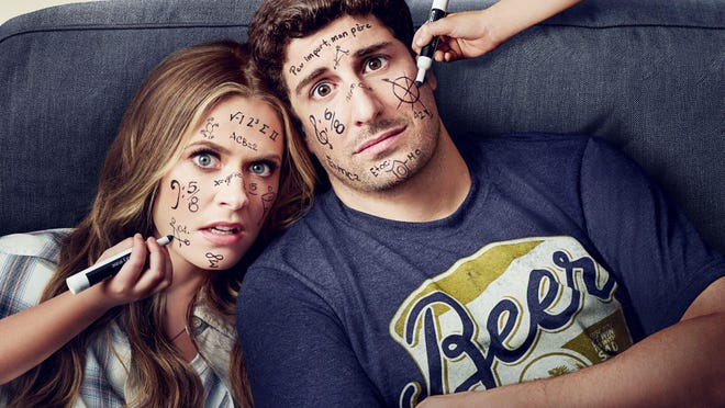 "Maggie Lawson and Jason Biggs star as Mike and Cay in ""Outmatched."""