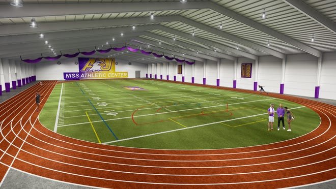An artist rendering shows the new Niss Athletic Center, which will feature an 80-yard turf field, a 300-meter six-lane track and an eight-lane sprint track, as well as field jump and throwing areas and batting cages.
